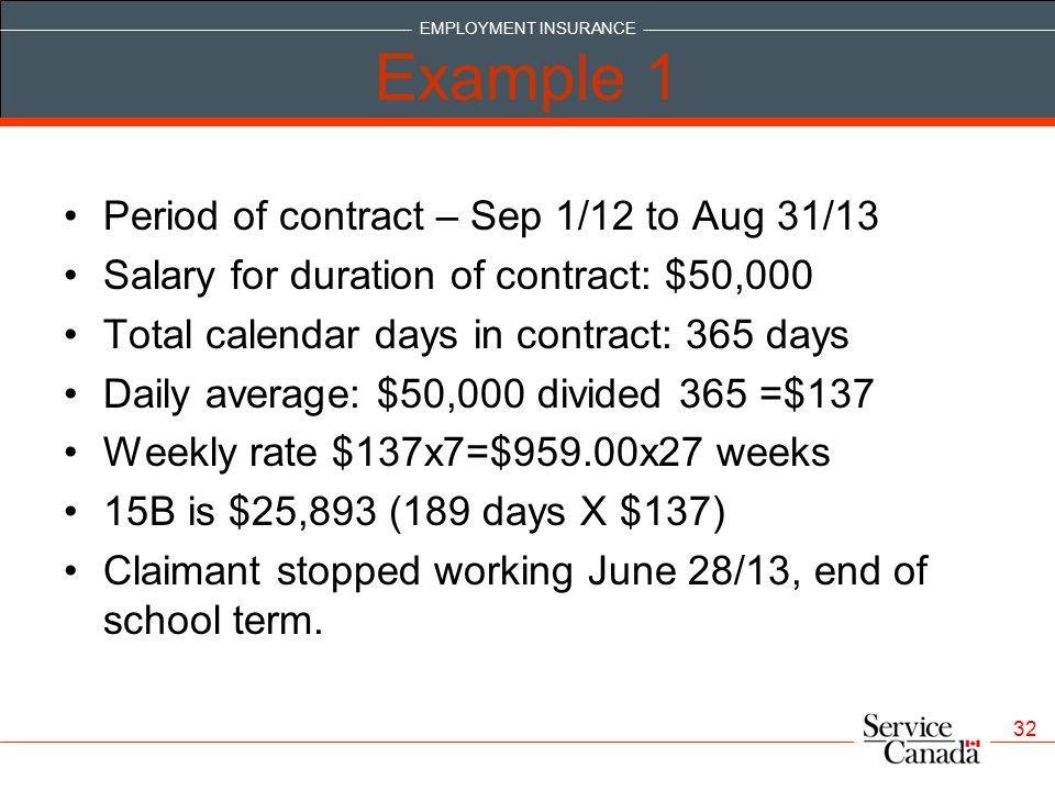 Example 1 Period of contract – Sep 1/12 to Aug 31/13