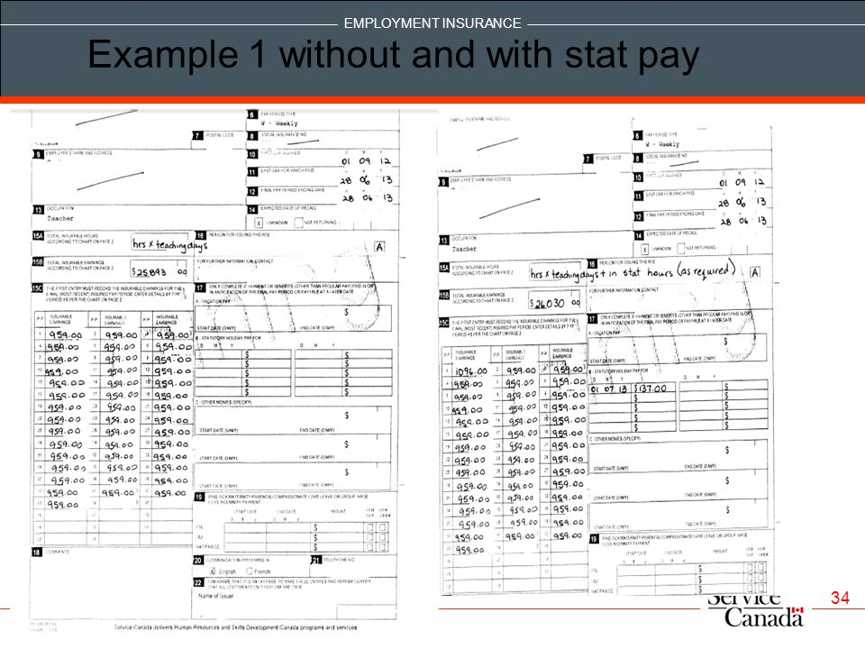 Example 1 without and with stat pay