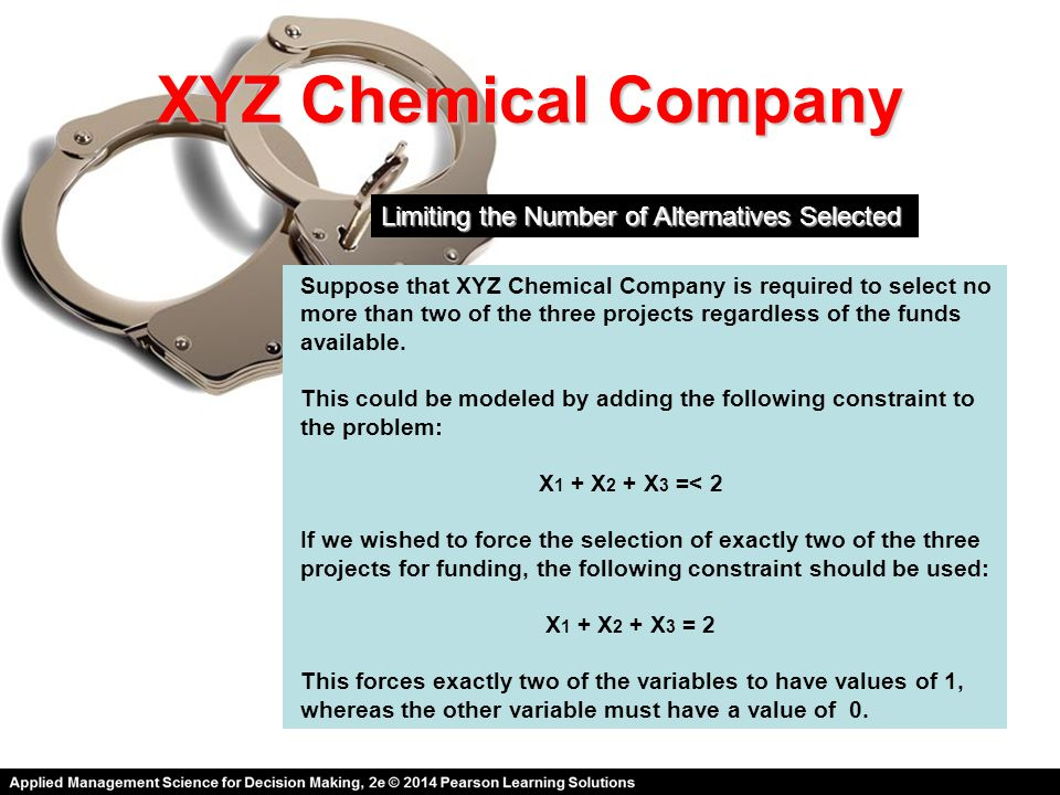 XYZ Chemical Company Limiting the Number of Alternatives Selected