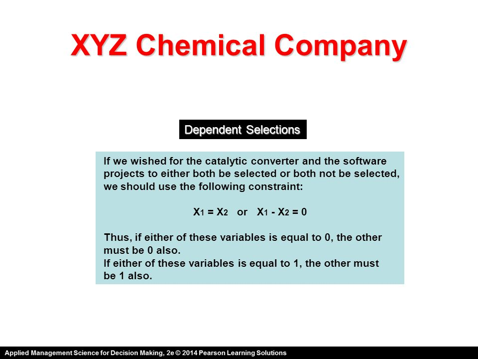 XYZ Chemical Company Dependent Selections
