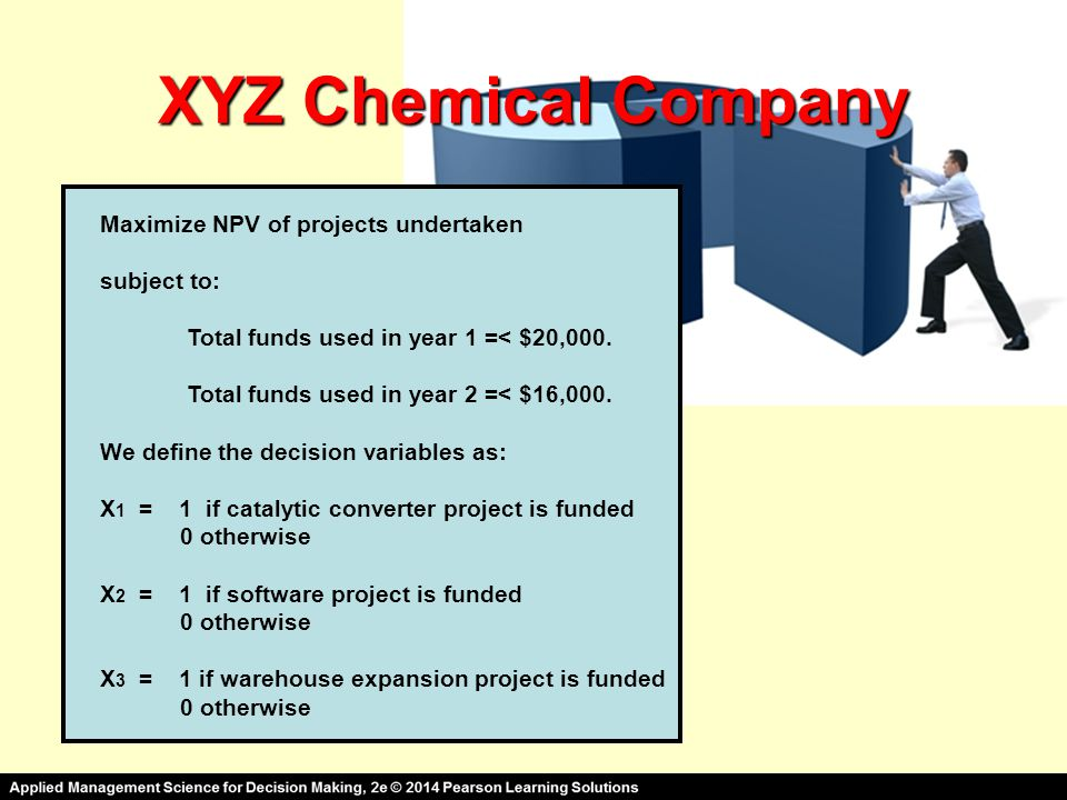 XYZ Chemical Company Maximize NPV of projects undertaken subject to: