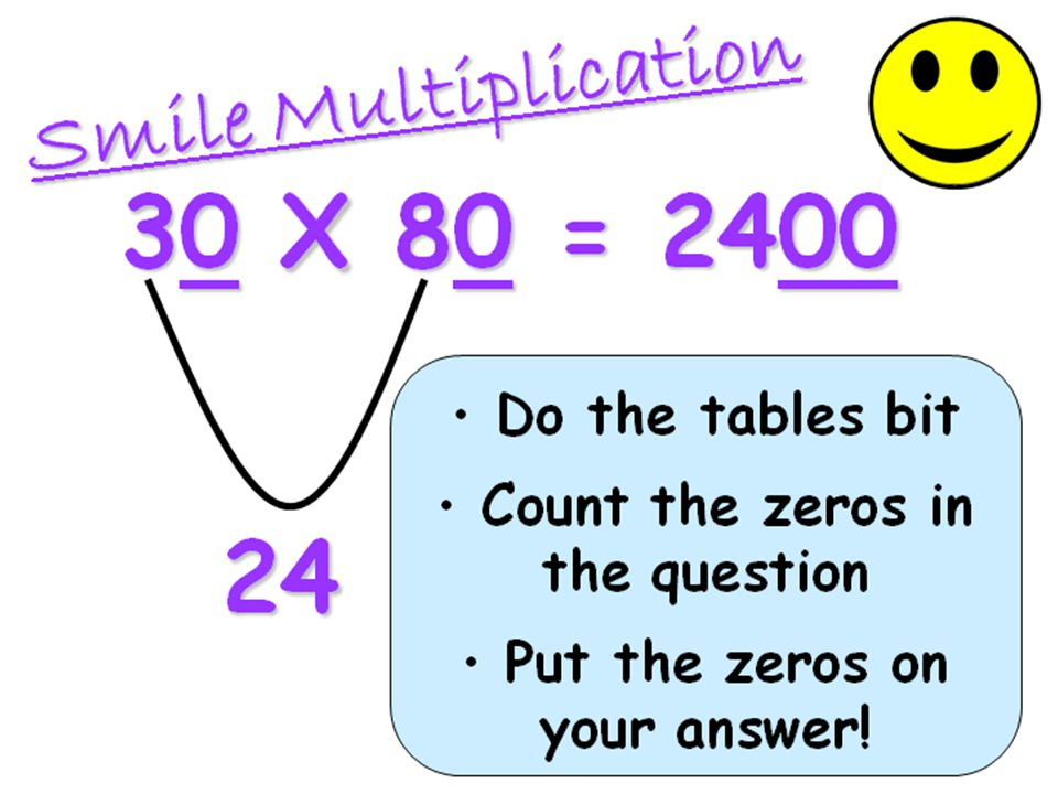 Vicky: Smile Multiplication is the Big Maths name for multiplying by multiples of 10. It is a critical building block for multiplication.