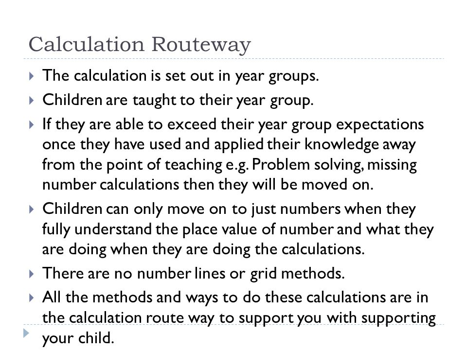 Calculation Routeway The calculation is set out in year groups.