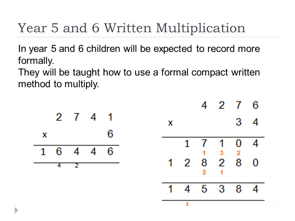 Year 5 and 6 Written Multiplication
