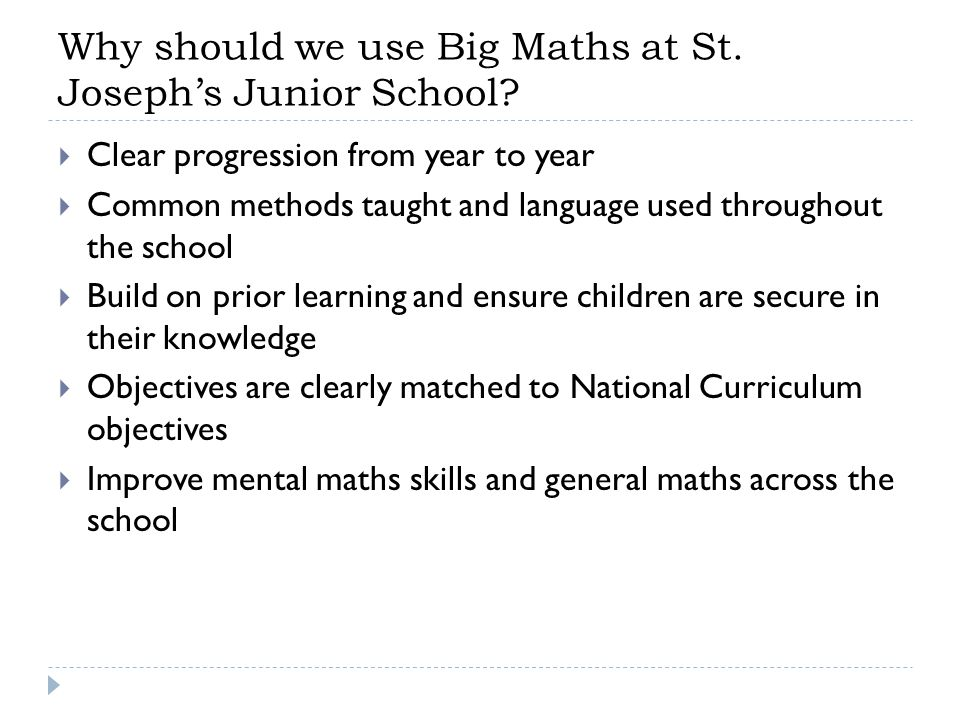 Why should we use Big Maths at St. Joseph's Junior School