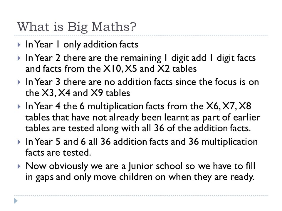 What is Big Maths In Year 1 only addition facts