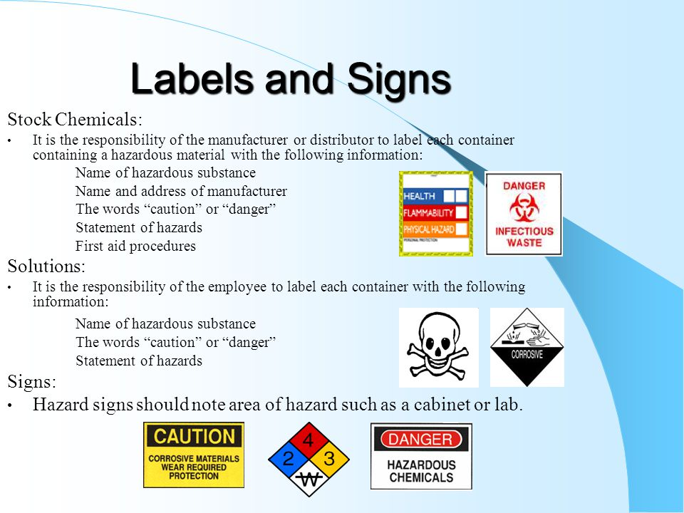 Labels and Signs Stock Chemicals: Solutions: Signs: