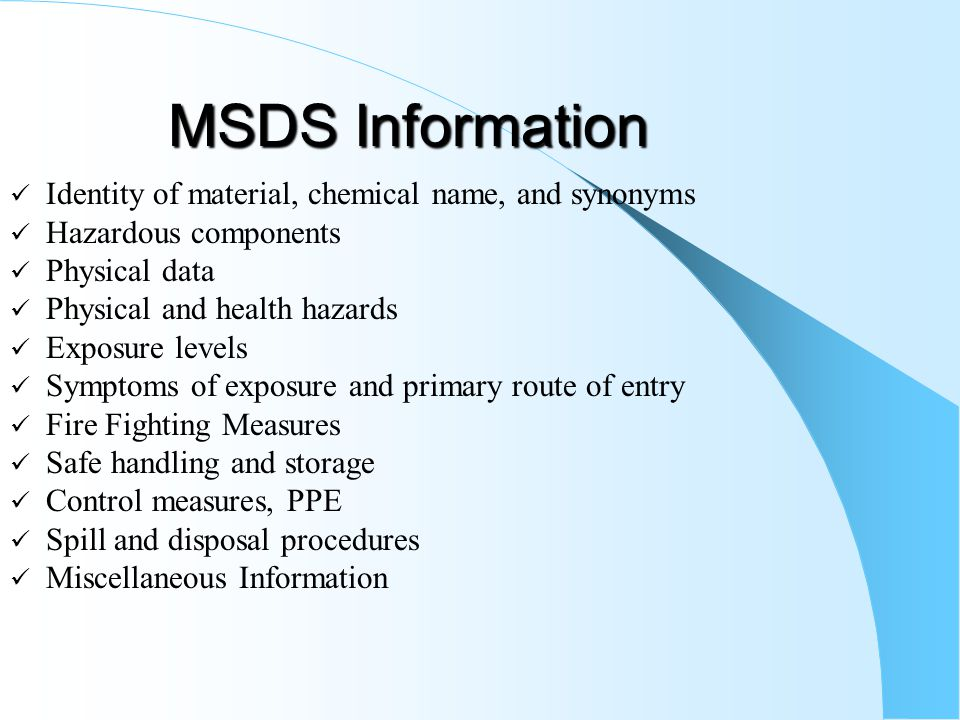 MSDS Information Identity of material, chemical name, and synonyms