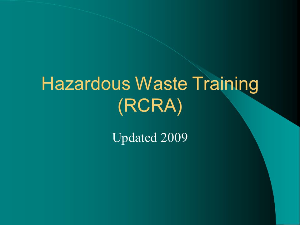 Hazardous Waste Training (RCRA)