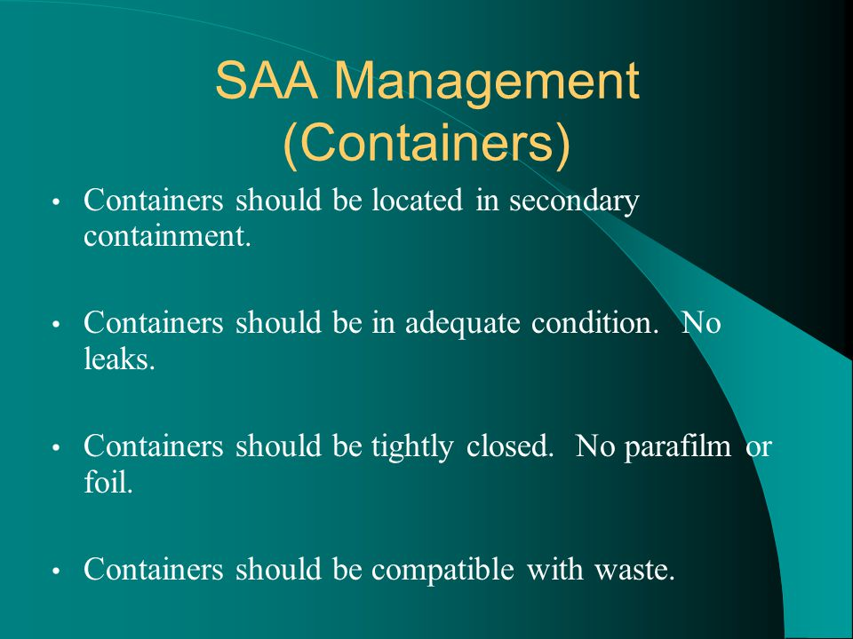 SAA Management (Containers)