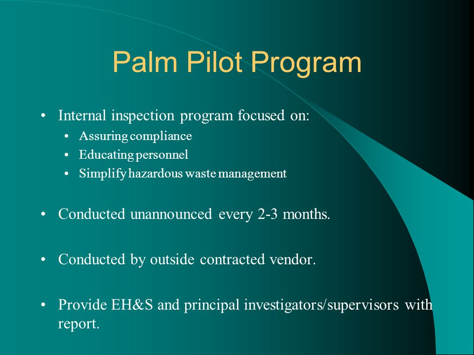 Palm Pilot Program Internal inspection program focused on: