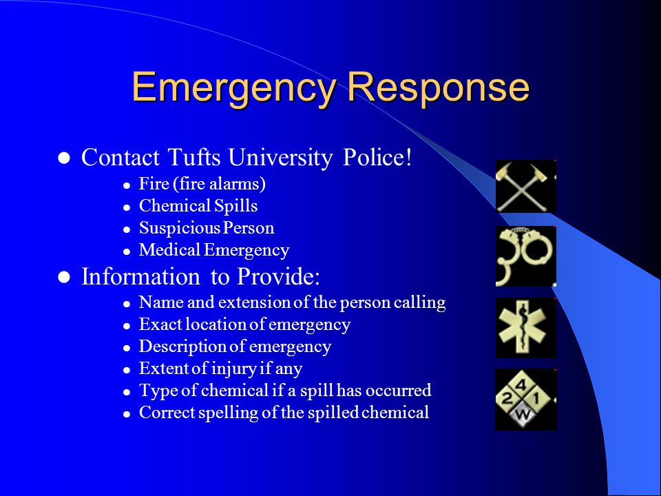 Emergency Response Contact Tufts University Police!