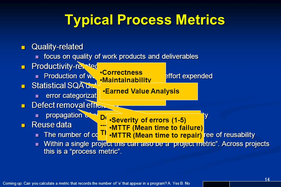 Typical Process Metrics