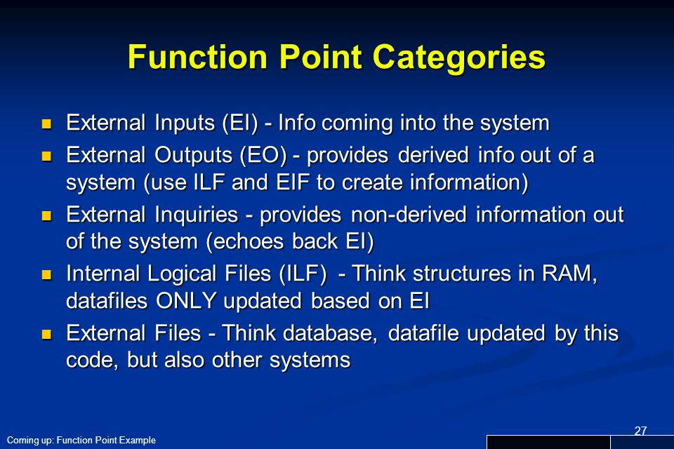 Function Point Categories