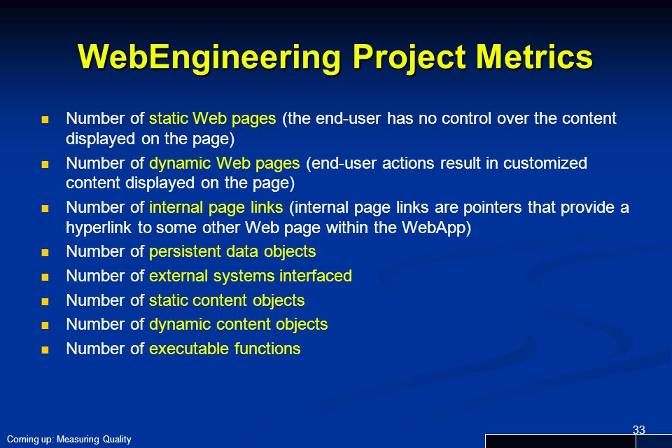 WebEngineering Project Metrics