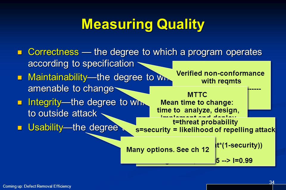 Measuring Quality Correctness — the degree to which a program operates according to specification.