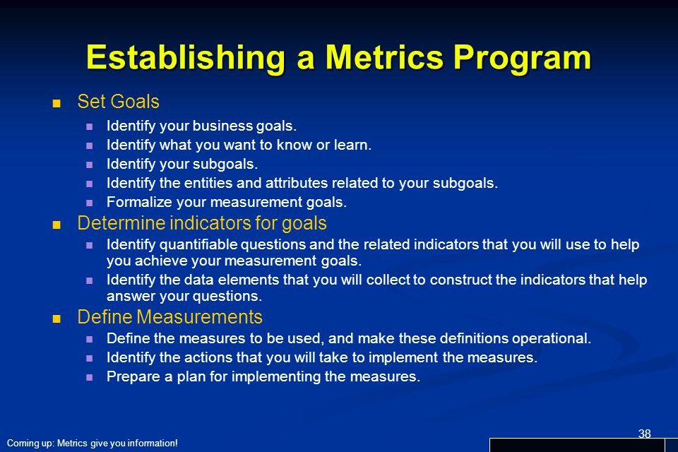 Establishing a Metrics Program