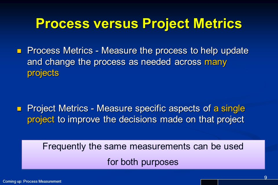 Process versus Project Metrics