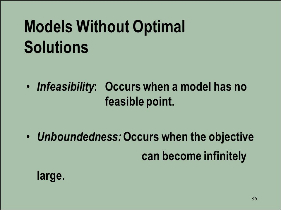 Models Without Optimal Solutions