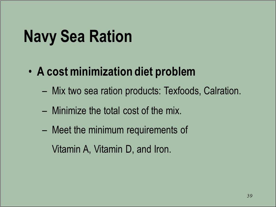 Navy Sea Ration A cost minimization diet problem