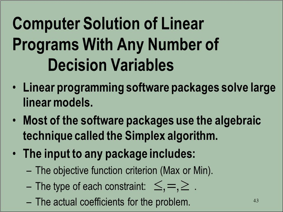 Computer Solution of Linear