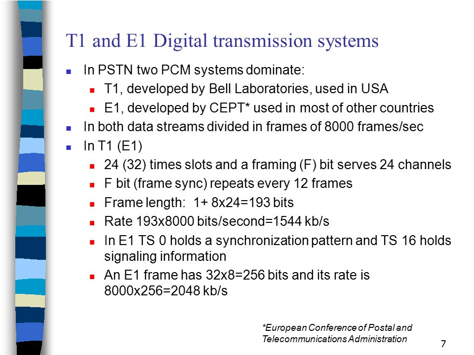 T1 and E1 Digital transmission systems