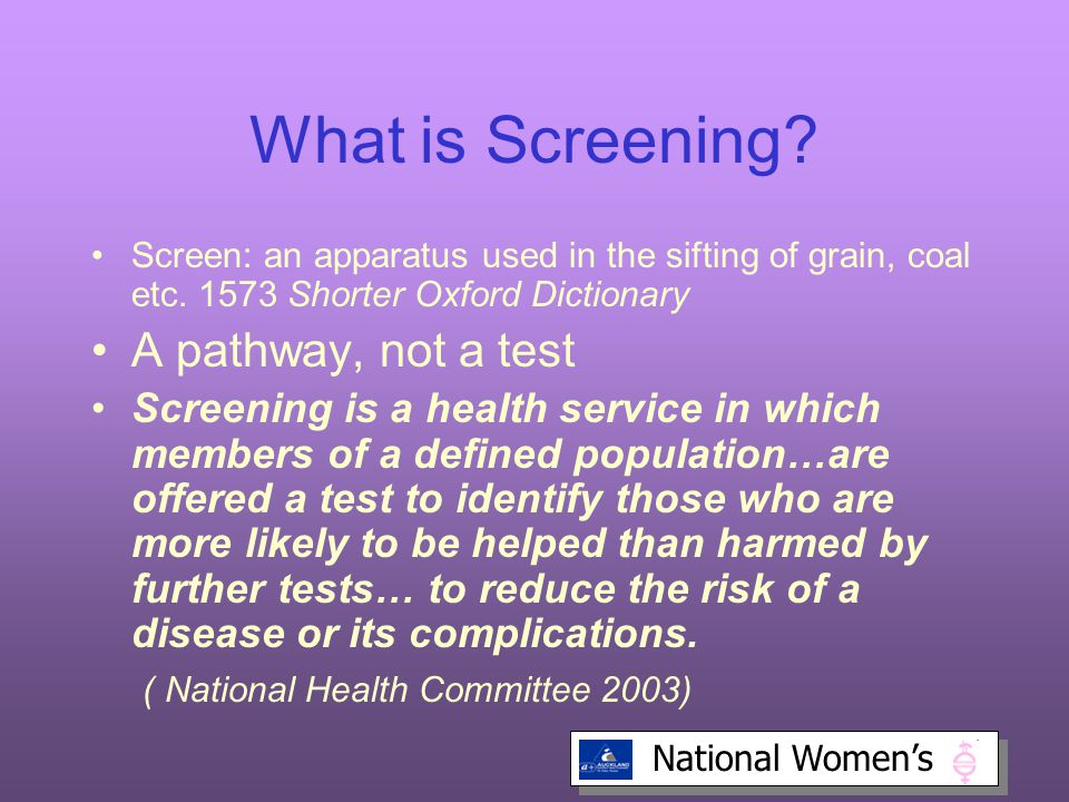 What is Screening A pathway, not a test