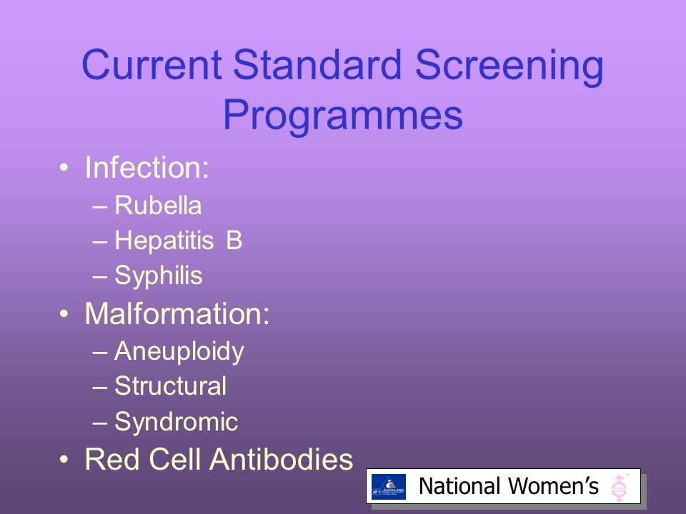 Current Standard Screening Programmes