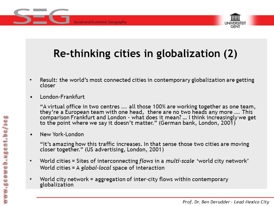 Re-thinking cities in globalization (2)
