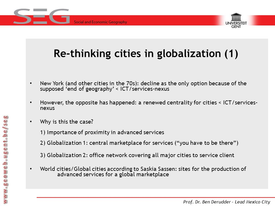 Re-thinking cities in globalization (1)