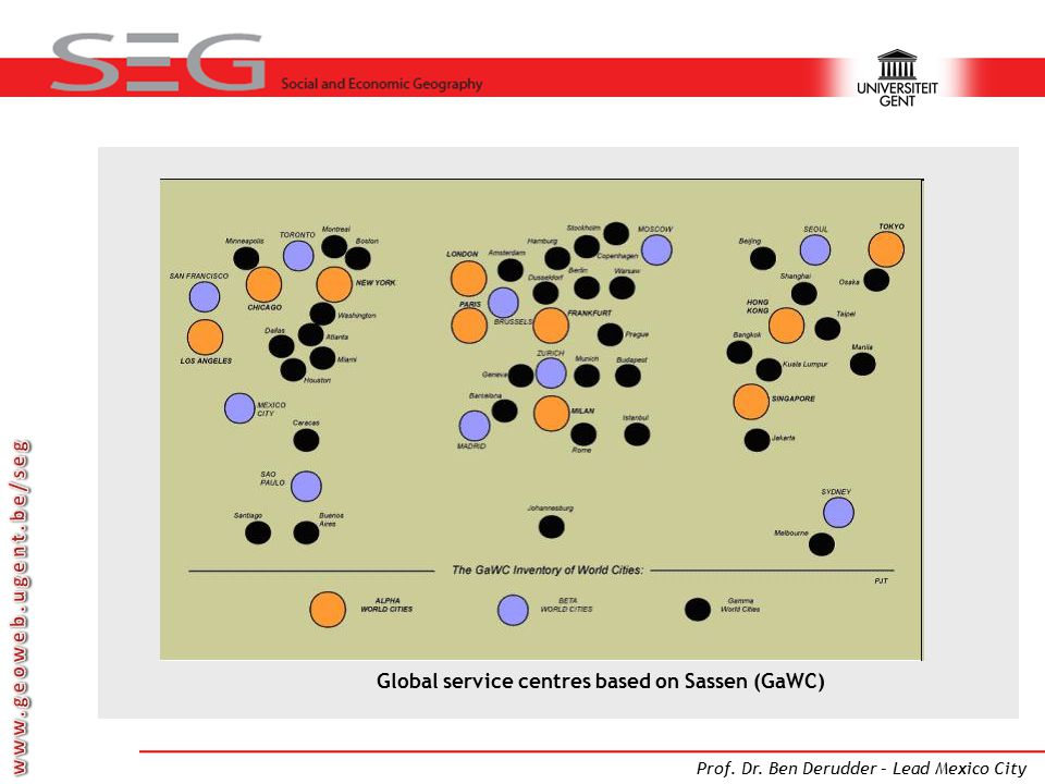 Global service centres based on Sassen (GaWC)