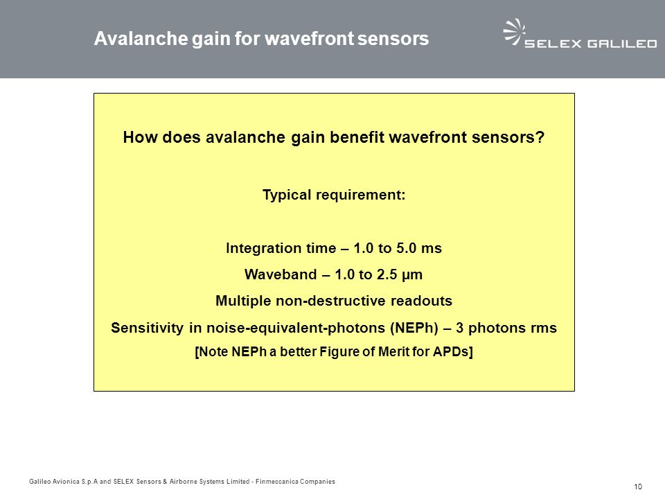 Avalanche gain for wavefront sensors