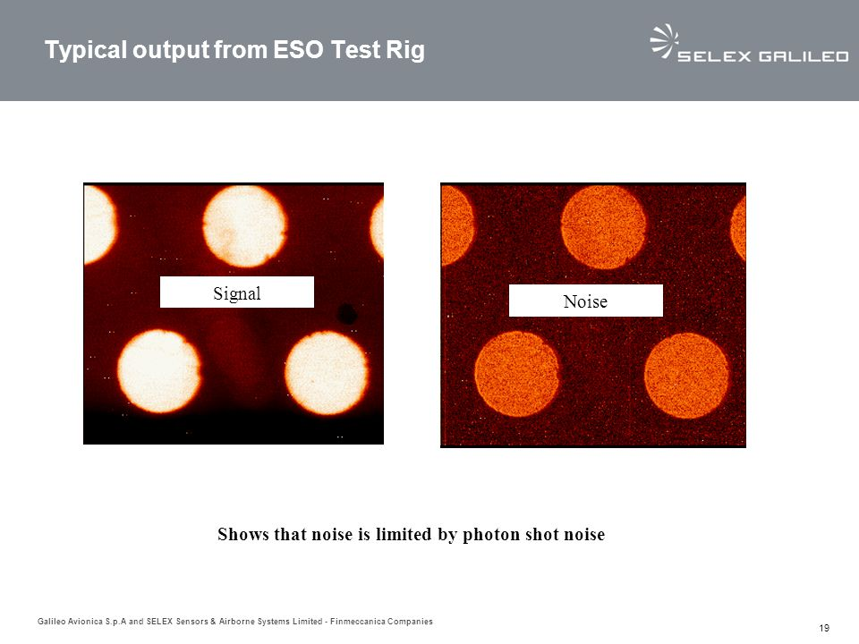 Typical output from ESO Test Rig
