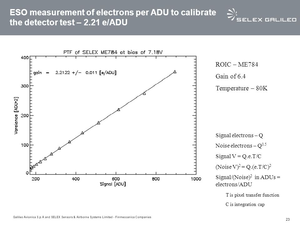 ESO measurement of electrons per ADU to calibrate the detector test – 2.21 e/ADU