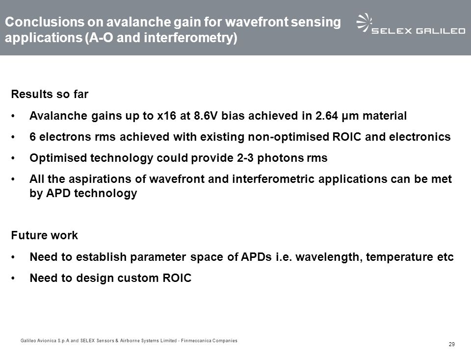 Conclusions on avalanche gain for wavefront sensing applications (A-O and interferometry)