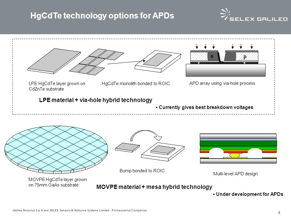 HgCdTe technology options for APDs