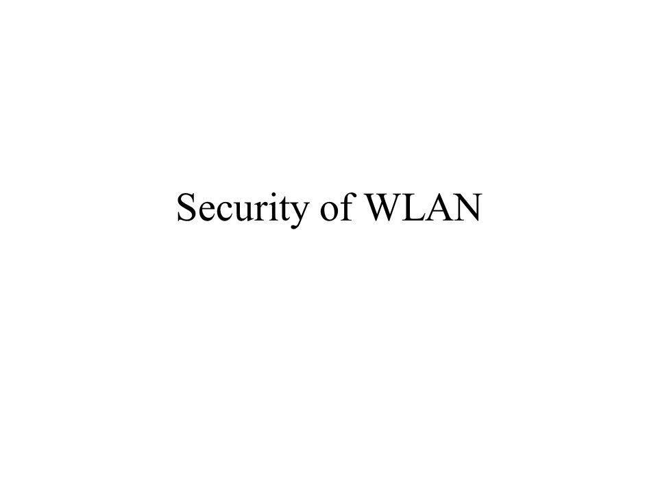 Security of WLAN