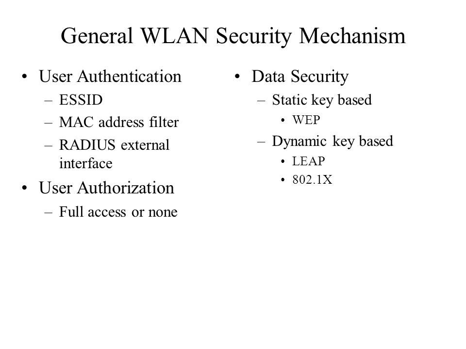 General WLAN Security Mechanism