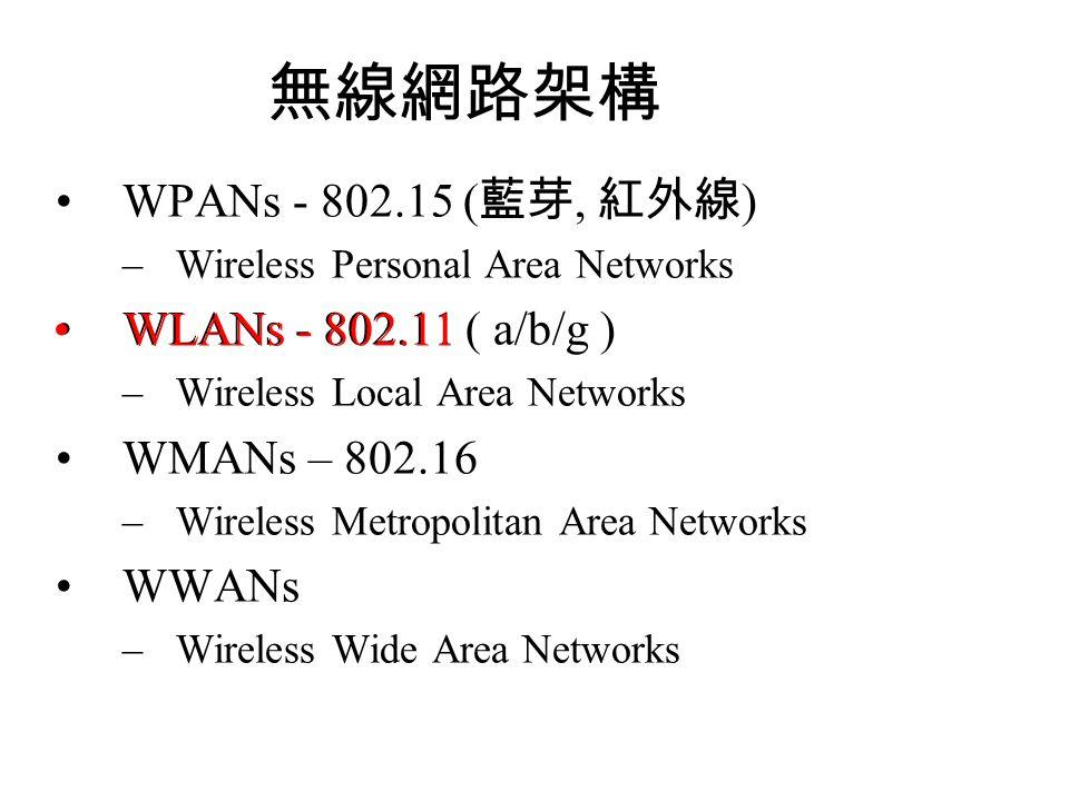 無線網路架構 WPANs - 802.15 (藍芽, 紅外線) WLANs - 802.11 ( a/b/g )