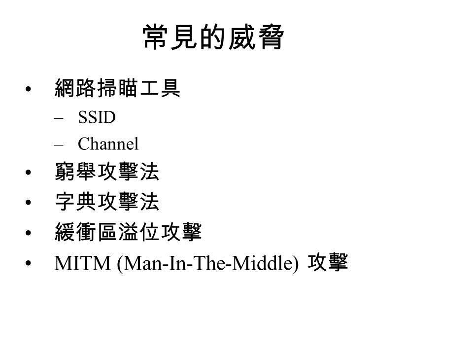 常見的威脅 網路掃瞄工具 窮舉攻擊法 字典攻擊法 緩衝區溢位攻擊 MITM (Man-In-The-Middle) 攻擊 SSID