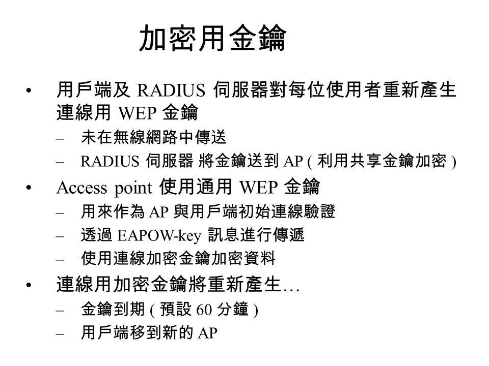 加密用金鑰 用戶端及 RADIUS 伺服器對每位使用者重新產生 連線用 WEP 金鑰 Access point 使用通用 WEP 金鑰