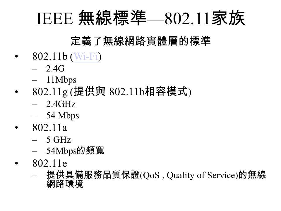 IEEE 無線標準—802.11家族 定義了無線網路實體層的標準