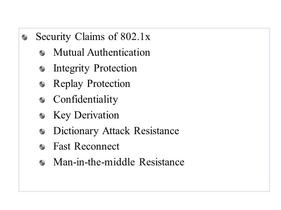 Security Claims of 802.1x Mutual Authentication. Integrity Protection. Replay Protection. Confidentiality.