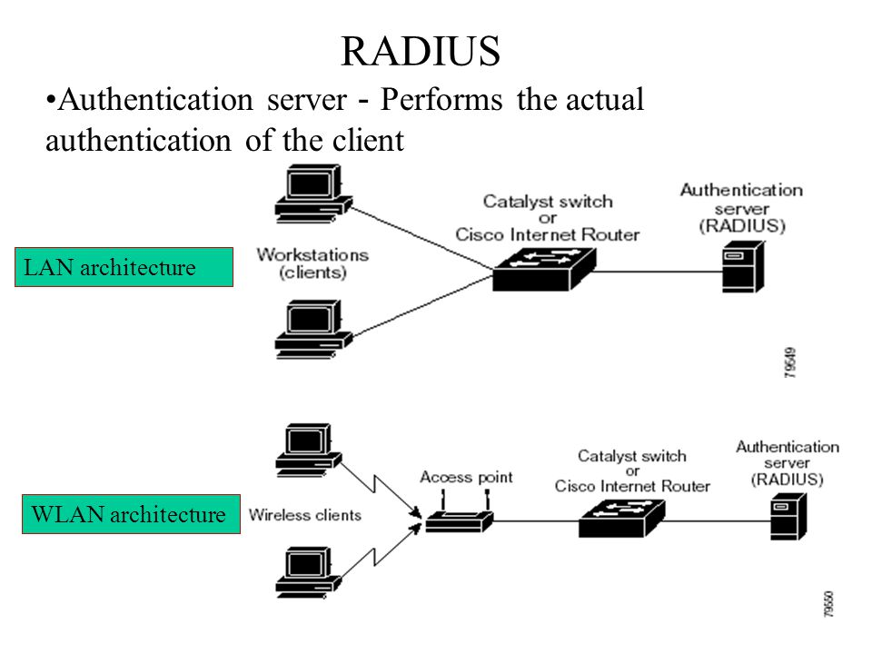 RADIUS Authentication server-Performs the actual authentication of the client.
