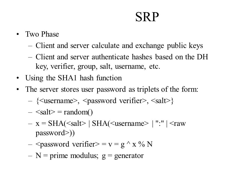 SRP Two Phase Client and server calculate and exchange public keys