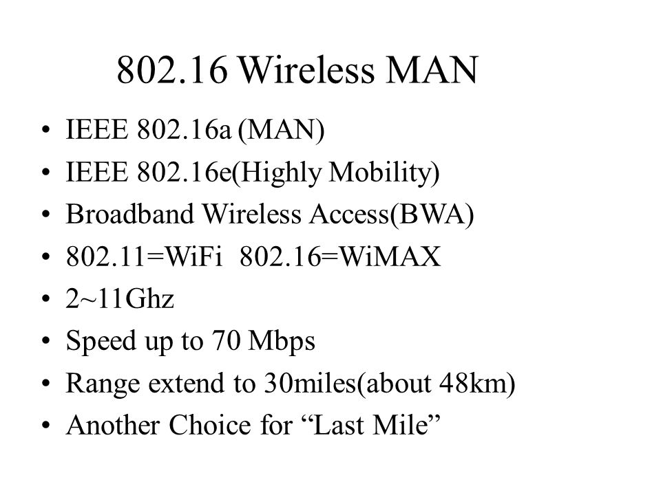 802.16 Wireless MAN IEEE 802.16a (MAN) IEEE 802.16e(Highly Mobility)
