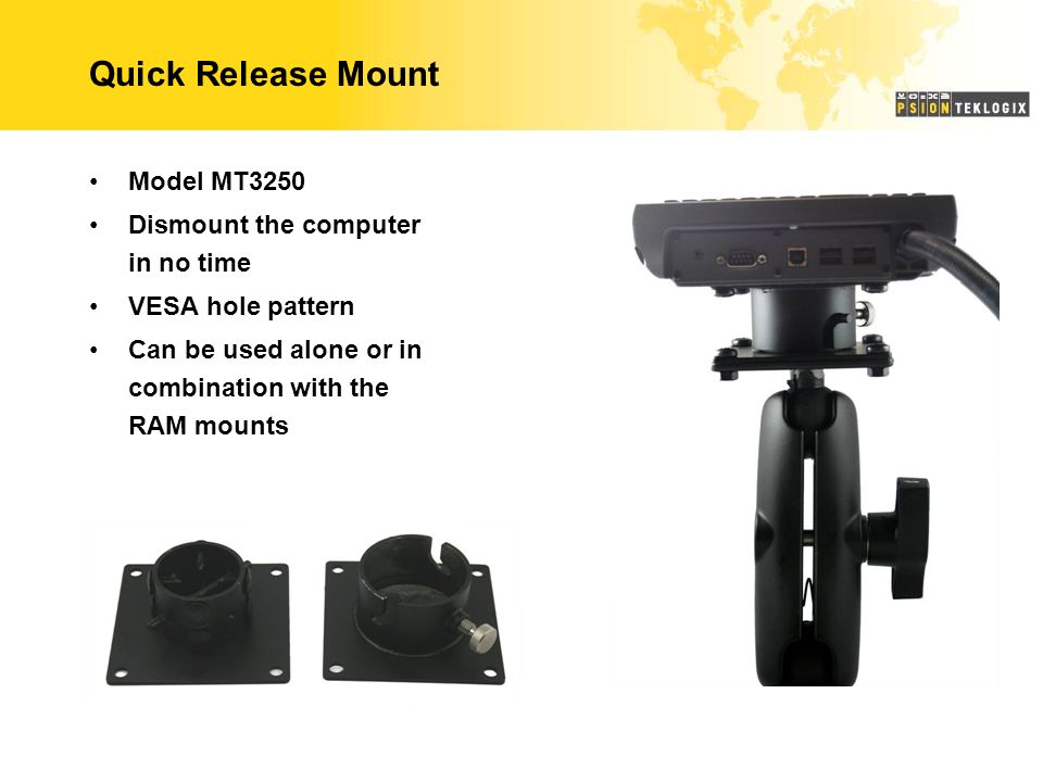 Quick Release Mount Model MT3250 Dismount the computer in no time