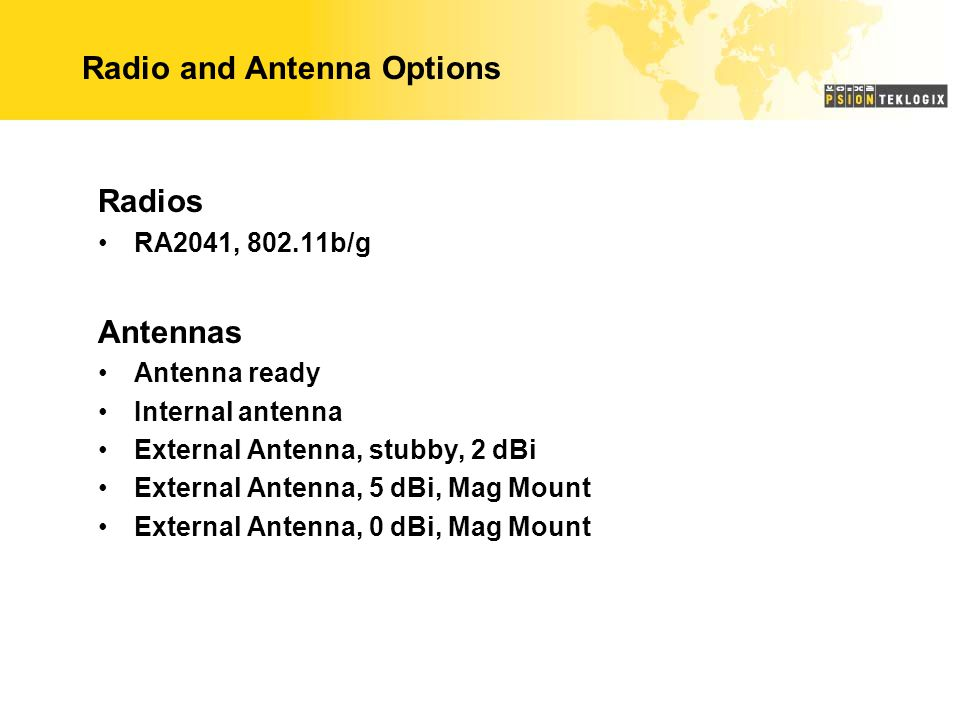 Radio and Antenna Options