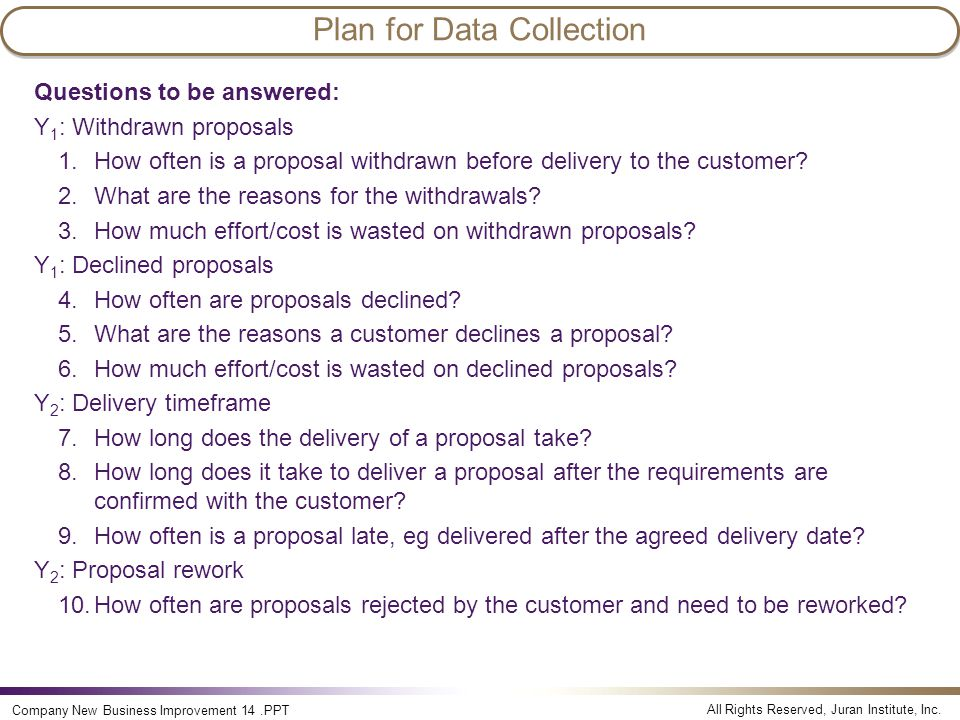 Plan for Data Collection