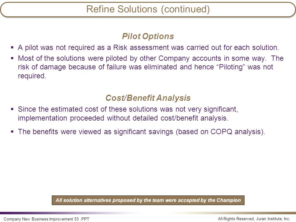 Refine Solutions (continued)